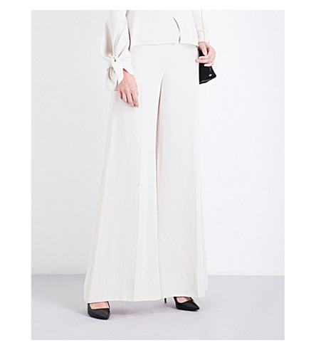 ROLAND MOURET Uppingham wide crepe trousers (Ecru