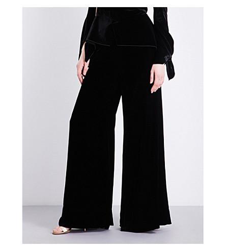 ROLAND MOURET Uppingham wide-leg high-rise velvet trousers (Black