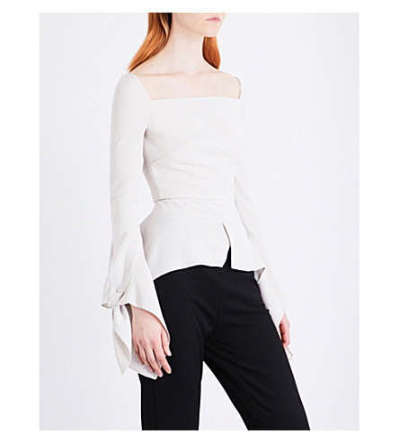 ROLAND MOURET Wicklow asymmetric woven top (Ecru