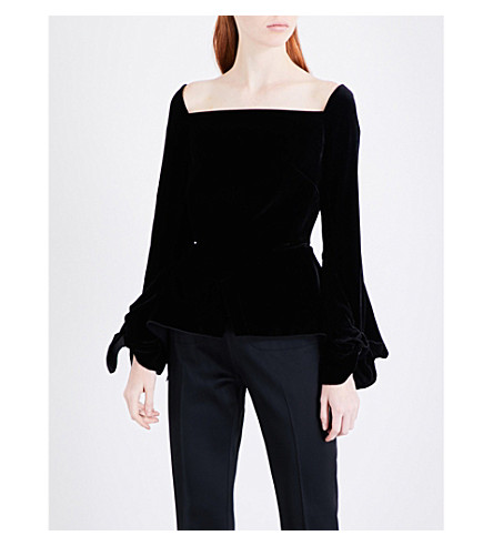 ROLAND MOURET Wicklow velvet top (Black