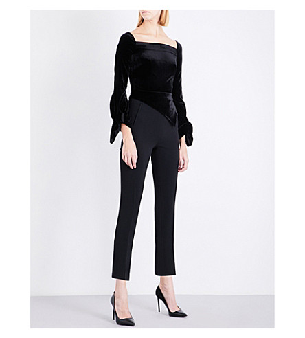 ROLAND MOURET Rayleygh velvet and crepe jumpsuit (Black