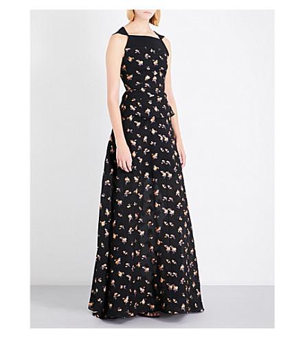 ROLAND MOURET Heddon silk-blend gown (Black+multi