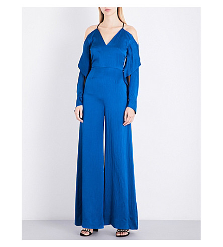 ROLAND MOURET Soham cold shoulder silk-satin jumpsuit (Pacific+blue