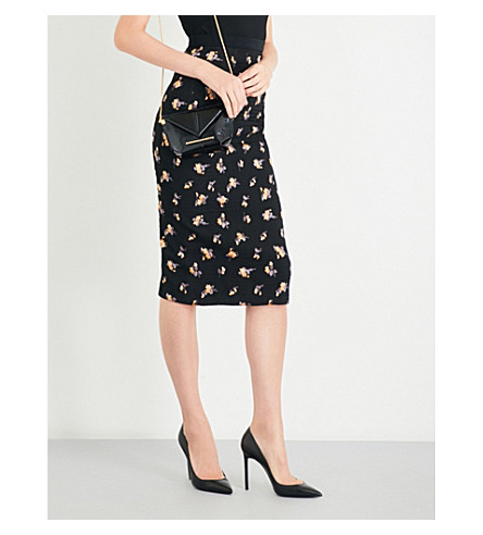 ROLAND MOURET Norley fil coupe skirt (Black+multi