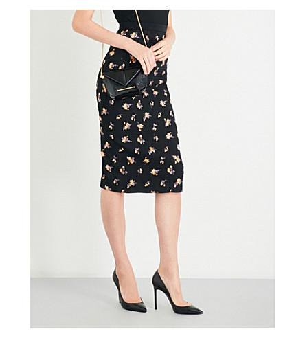 ROLAND MOURET Norley fil coupe skirt (Black+multi
