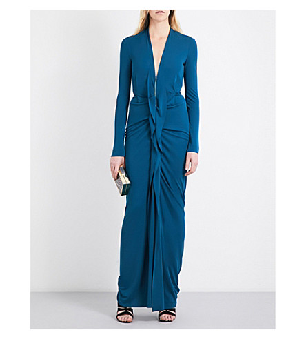 ROLAND MOURET Compeyson stretch-crepe gown (Petrol