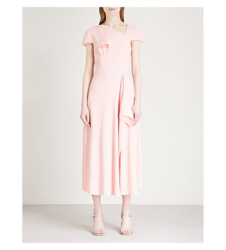 ROLAND MOURET Elliot cloqué midi dress (Pale+rose