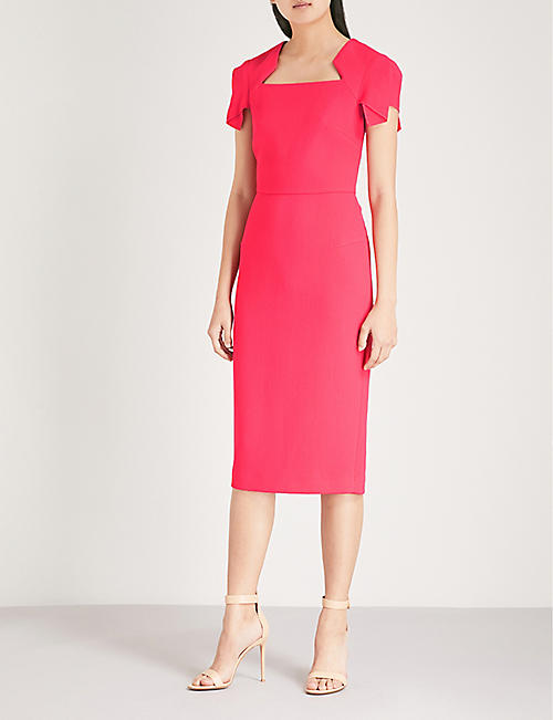 ROLAND MOURET Royston asymmetric-sleeve wool-crepe dress