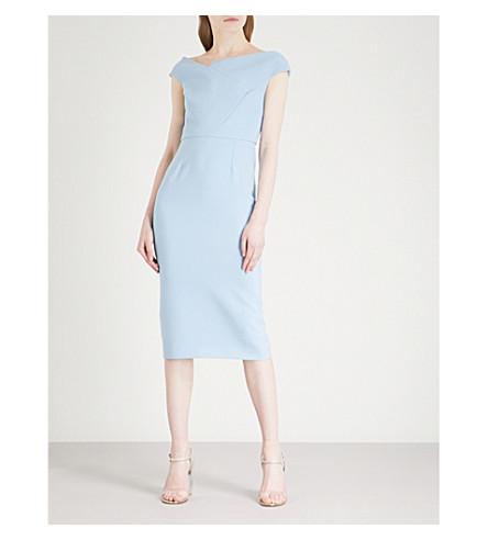 k dress midi shoulder off Dusty MOURET ROLAND Darley crepe blue the wcvgPREq