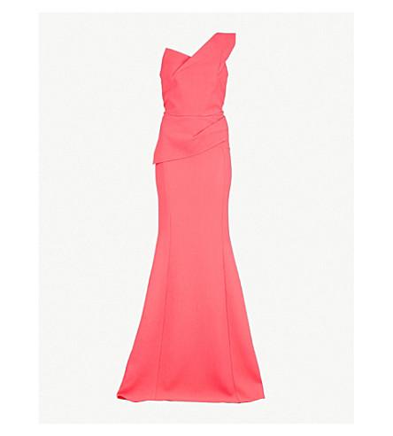 ROLAND MOURET Azul one-shoulder wool-crepe gown (Pink