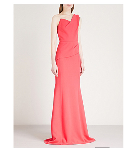 ROLAND MOURET Azul one-shoulder wool-crepe gown (Pink