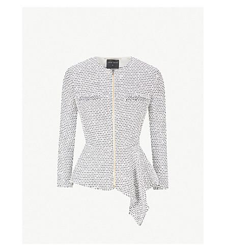 ROLAND MOURET Delen asymmetric-hem woven jacket (White/gunmetal