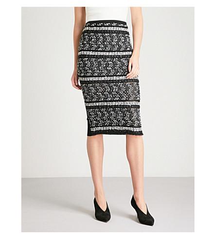 ROLAND MOURET Gunby two-tone fil-coupé skirt (Blk+multi