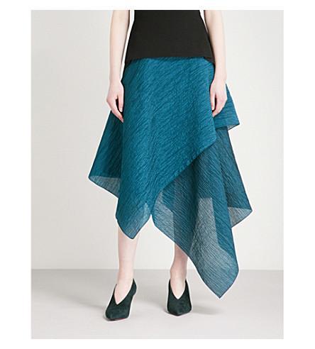 ROLAND MOURET Textured cotton-blend midi skirt (Dark+jade