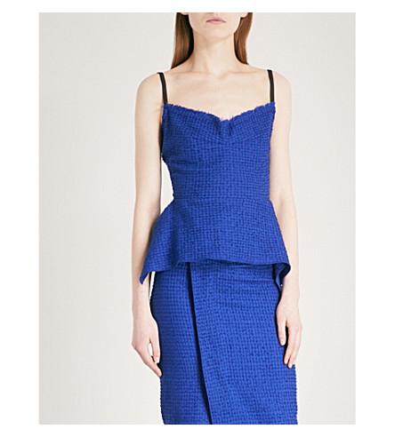 ROLAND MOURET Methley sleeveless cotton-blend top (Electric+blue