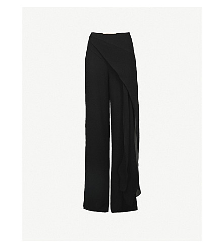 ROLAND MOURET Farnley flared high-rise silk-crepe trousers (Black