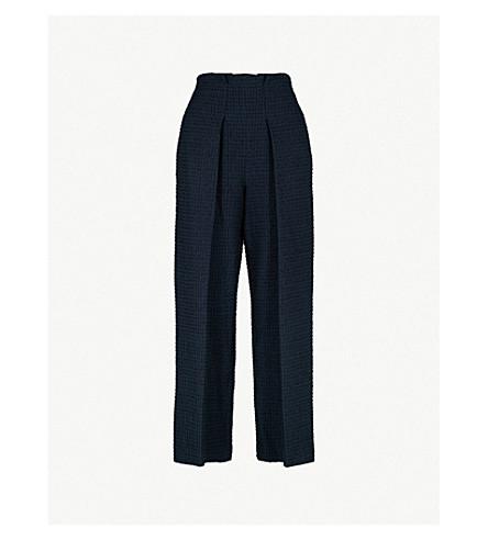 ROLAND MOURET Textured high-rise wide-leg cotton-blend trousers (Navy