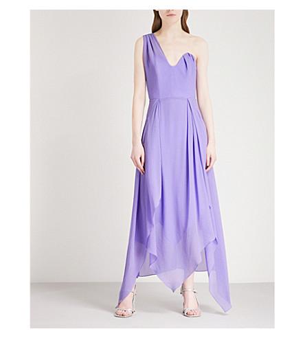 ROLAND MOURET Asymmetric silk-crepe midi dress (Hyacinth