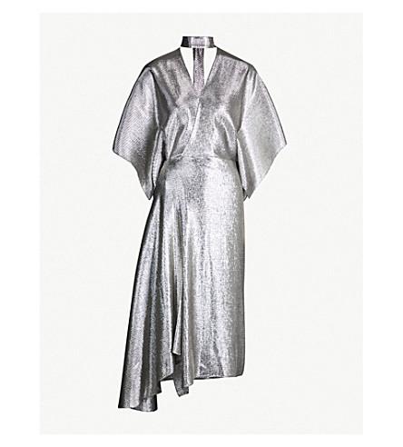 ROLAND MOURET Meyers asymmetric metallic gown (Silver