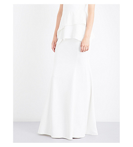 ROLAND MOURET Aries crepe maxi skirt (White