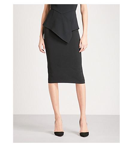 ROLAND MOURET Arreton wool-crepe pencil skirt (Blk+sv