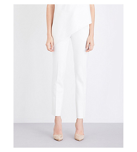 ROLAND MOURET Straight stretch-crepe pants (White