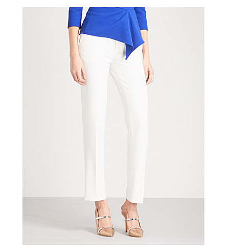 ROLAND MOURET Lacerta straight crepe trousers (White