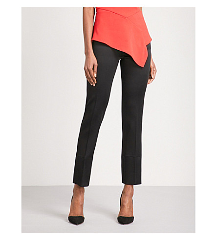 ROLAND MOURET Donne straight high-rise crepe trousers (Blk