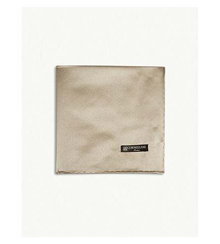 CORNELIANI Plain silk pocket square (Gold