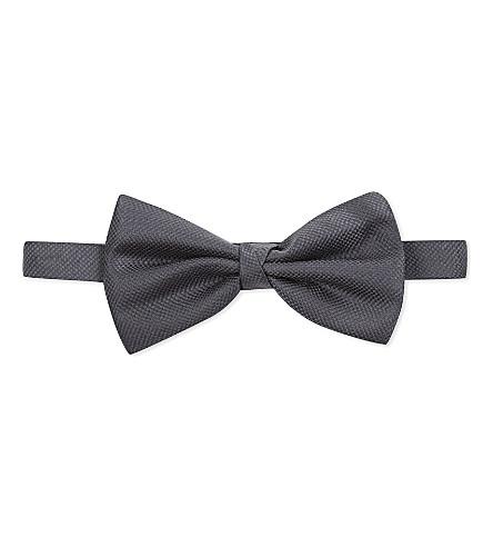 CORNELIANI Birdseye silk bowtie (Grey