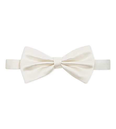 CORNELIANI Solid silk bow tie (White
