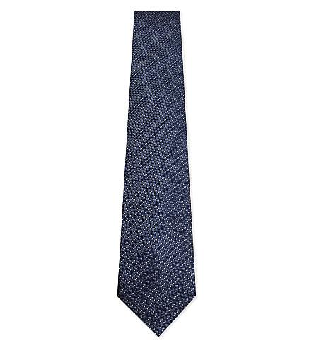 CORNELIANI Square-stitch silk tie (Indigo