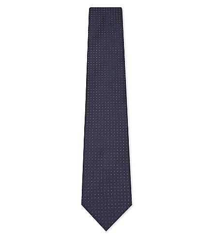 CORNELIANI Floral tile silk tie (Navy