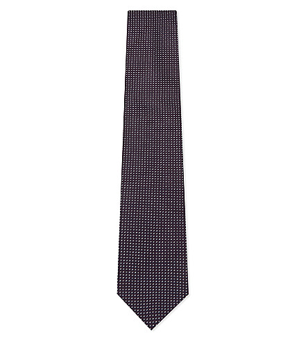 CORNELIANI Stitch dot silk tie (Burgundy