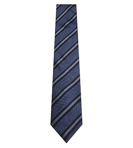 CORNELIANI Stitched striped silk tie (Light+blue+1