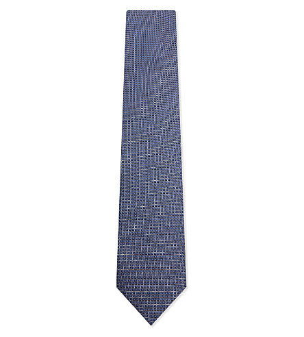 CORNELIANI Micro diamonds silk tie (Pale+blue