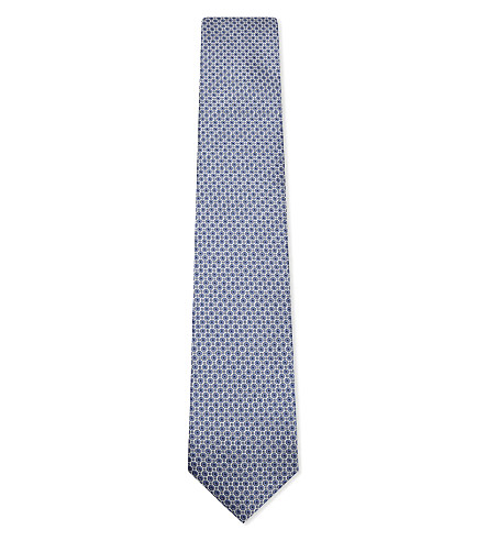 CORNELIANI Circles silk tie (Sky+blue