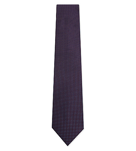 CORNELIANI Dot stitch pattern silk tie (Red