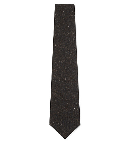 CORNELIANI Herringbone wool-silk blend tie (Brown