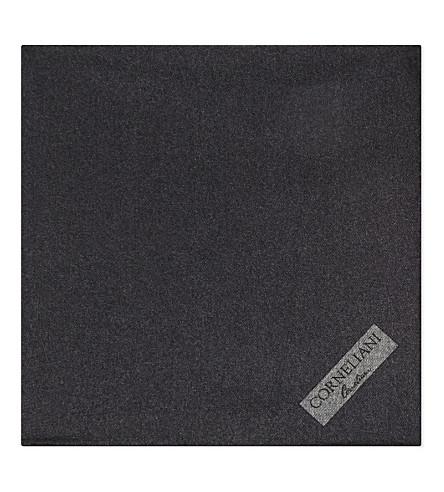 CORNELIANI Brushed wool pocket square (Grey