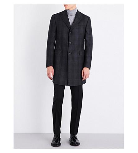 CORNELIANI Checked Super 110's wool coat (Charcoal