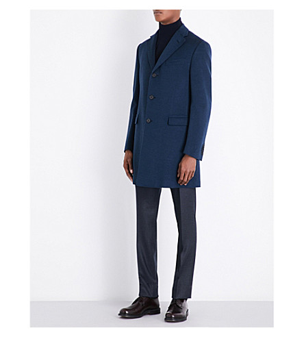 CORNELIANI Single-breasted wool coat (Turqoise