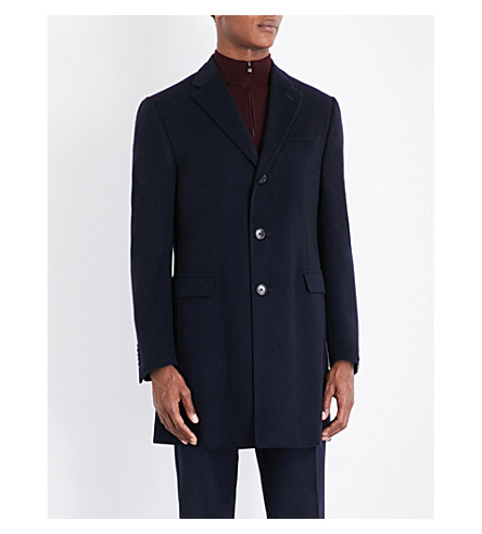 CORNELIANI Single-breasted wool overcoat (Navy