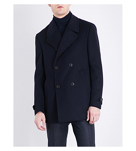 CORNELIANI Double-breasted wool peacoat (Navy