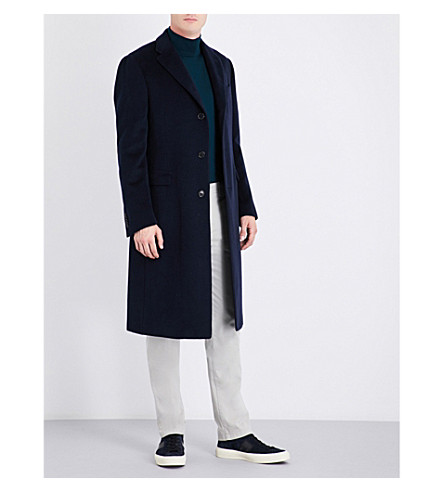 CORNELIANI Single-breasted cashmere coat (Navy