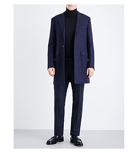 CORNELIANI Checked wool, silk and flax-blend coat (Navy