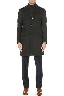 CORNELIANI Zip-insert herringbone coat