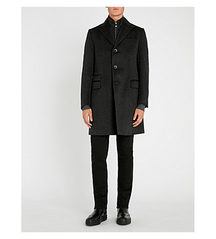 CORNELIANI Identity wool overcoat (Charcoal