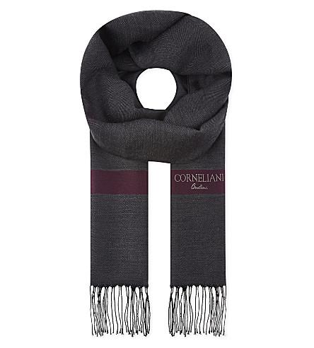 CORNELIANI Striped herringbone wool & silk scarf (Charcoal