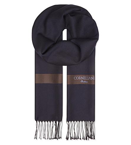 CORNELIANI Striped herringbone wool & silk scarf (Navy